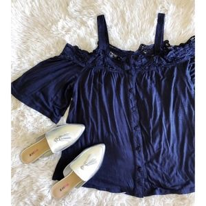 DANIEL RAINN navy blue cold shoulder button down